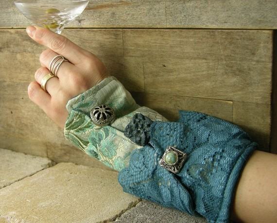 Stylish and chic way to keep warm! (via victorian romantic steampunk arm cuff in blue by piabarile)