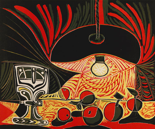 "Pablo Picasso, Still Life with Glass Under the Lamp, 1962. Linoleum cut. Nature morte au verre sous la lampe""  Bloch 1101 Linocut link and link"