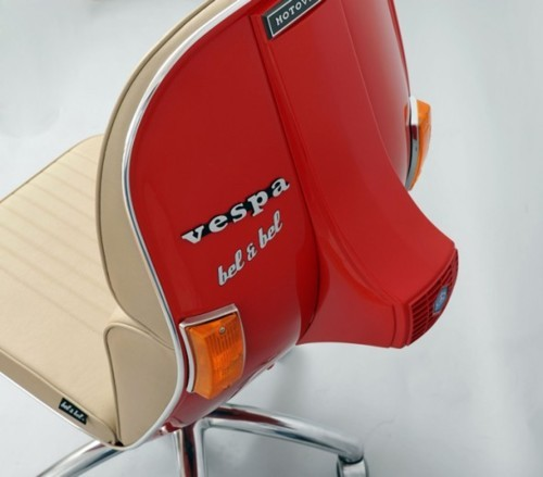 Would really love one of these!!  feelalltheshades:  Vespa Chair by Bel & Bel