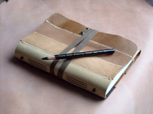 Zig Zag Earth Tones Gradient Leather Notebook by fullmoonn fullmoonn's skills with leather and bookbinding also comes in more journaling-friendly sizes