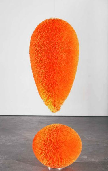 Richard Artschwager Exclamation Point 2008 Plastic bristles on a mahogany core painted with latex 165.1 x 55.9 x 55.9 cm