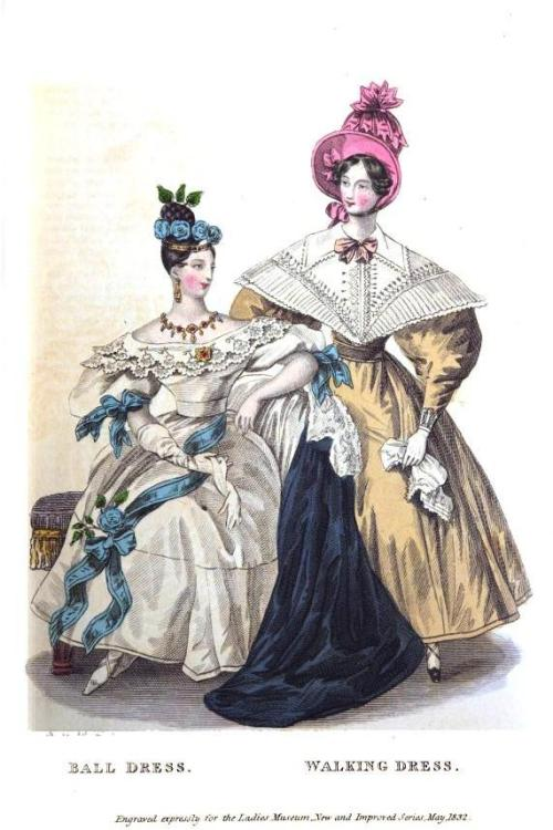 Lady's Museum, Ball Dress and Walking Dress, May 1832.