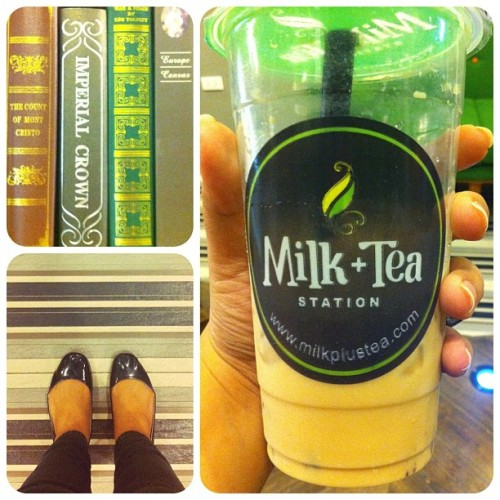 Church + Dinner + Tea = Happy Sunday. #books #flats #stripes #milk #tea (Taken with instagram)