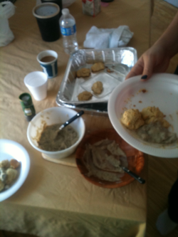 Vegan biscuits and gravy by Melissa, Eliana, and Seila! This retreat is the bomb.