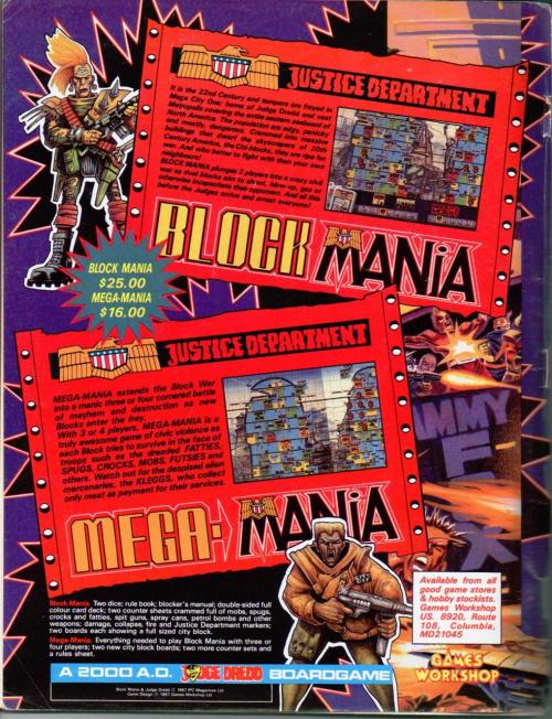 US publication advert for Games Workshop's 2000AD boardgame Block Mania (and it's expansion Mega Mania) based around urban strife in the Mega City One of the Judge Dredd strip. 1987