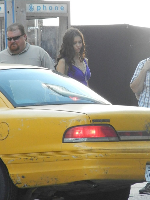 Nina Dobrev on set season 3