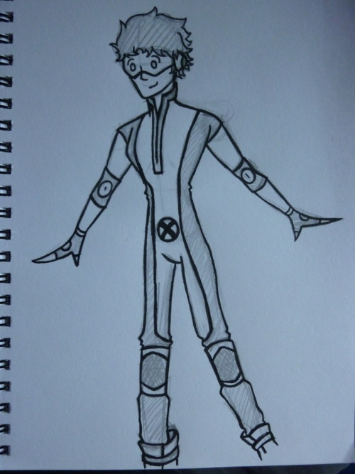 lilfix:  This a quick first drawing of a design for my own x-men costume. Basically, me as a mutant…awesome huh XD Working off the New Mutants black and yellow suit :) (Oh and I'm a speedster…duh)  SWEET!
