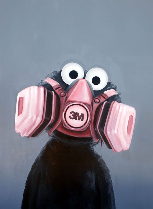"iheartmyart:  Gamaliel Rodriguez, The Astmatic Puppet, Household gloss enamel on canvas. 72"" by 54"", Series: ""Ads"", 2007"