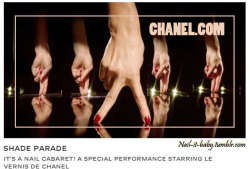 "CHANEL's ""SHADE PARADE""… I keep coming back to this old video. It's so much fun, and very well done. Bravo CHANEL! (Click pic to see video please)."