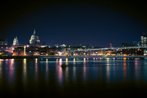 nolies-justlovee:  London Luminescence on Flickr. St Paul's Cathedral & the Millenium Bridge as seen at night from the Southbank.