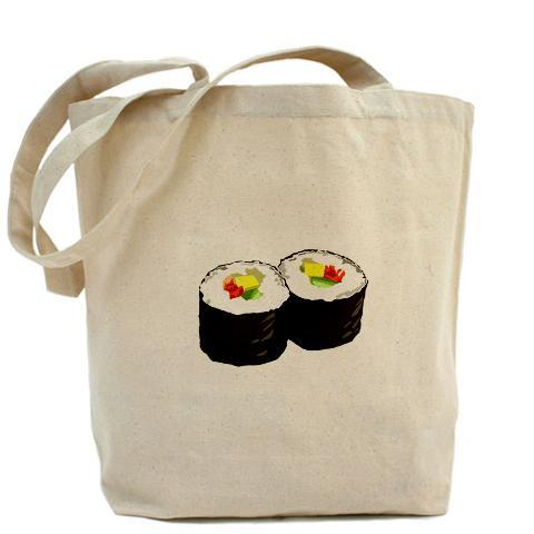 "Sushi canvas tote Product InformationOur 100% cotton canvas tote bags have plenty of room to carry everything you need when you are on the go. They include a bottom gusset and extra long handles for easy carrying.  10 oz heavyweight natural canvas fabric Full side and bottom gusset 22"" reinforced self-fabric handles Machine washable Measures 15"" x 18"" x 6"""