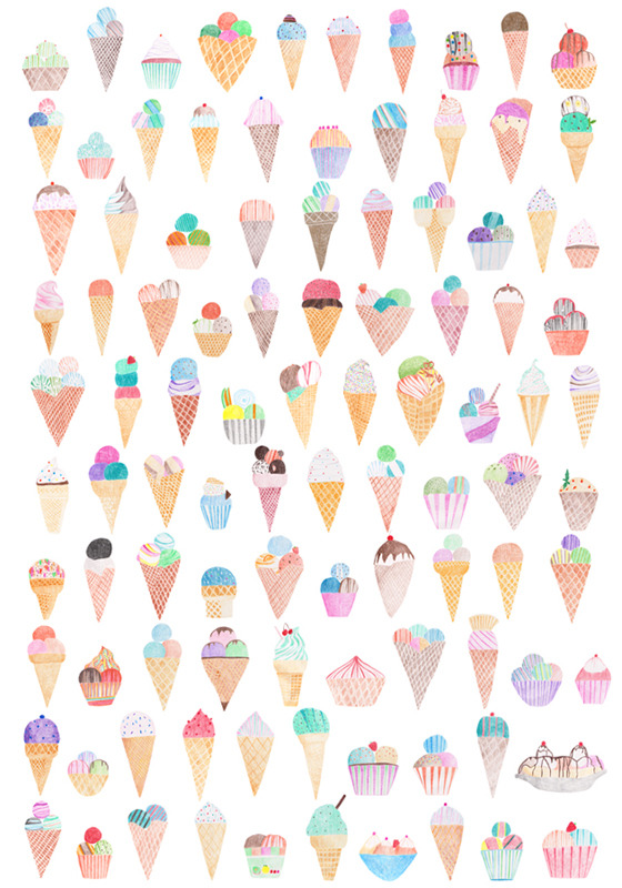artssake:  100 ice-creams by Michelle Hammenfeldt