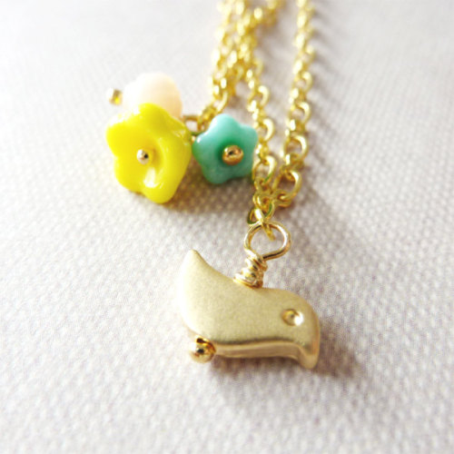 Double Chain Necklace. Bird and Flowers. via Katheyl
