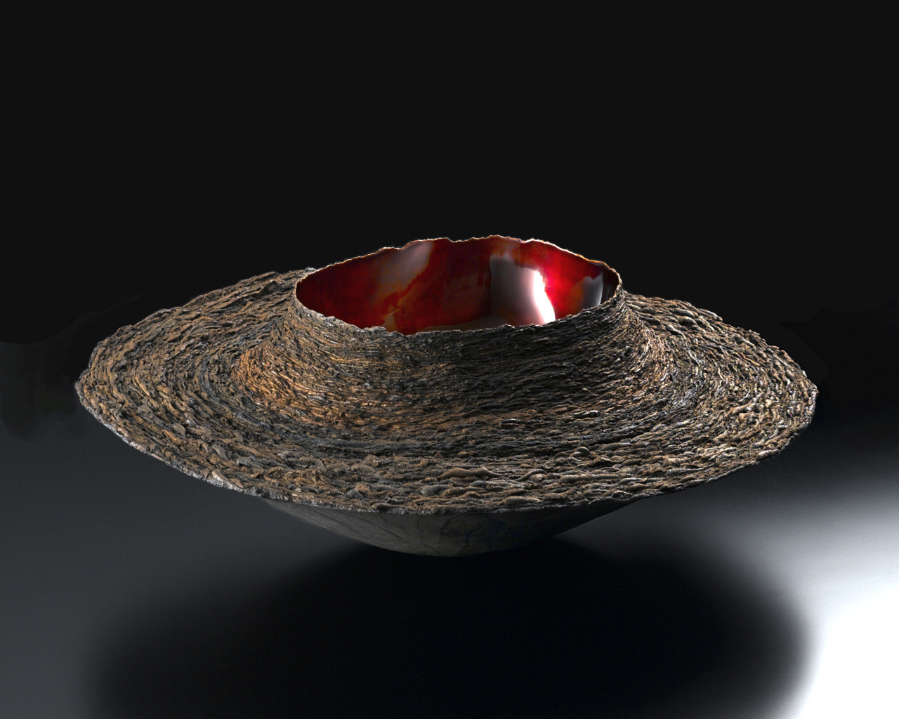 "ceramicsnow:  Fujita Toshiaki: Layered Form 1, 2004, Urushi, gold leaf, earth powder, 10"" x 10"" x 10"" (h) / Keiko Gallery - Japanese artists"