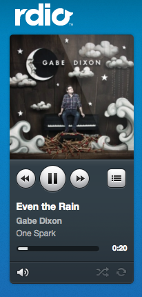 "My rainy day soundtrack. So fabulously sappy. Gabe Dixon must be the sweetest man on earth.  He's like an optimistic Matt Nathanson with a piano and heavier drum beat.  Me likey. Download or Rdio: Strike Even the Rain Release Me My Favorite My absolute favorite Gabe Dixon song is from the ""Live at World Cafe"" Ep called ""Five More Hours."""