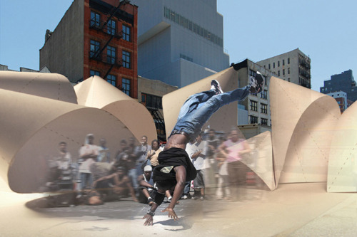 "BOWERY HOPSCOTCH Competition to design innovative street fair tent in New York for Arts and Ideas Festival. Sponsored by the Storefront for Architecture and the New Museum. The hopscotch course is typically drawn on pavement with chalk. the course is generally linear, and often numbered. it provides a basic narrative of navigation through an urban environment, and asks the game-player to engage in an acutely active manner with the street — to make their way across it and back again. the Bowery Hopscotch presents this same possibility for playful, fun, exploratory, and ordered engagement with the urban environment, albeit on a grander scale.  The project consists of four distinct structural typologies — named for the kid-relationships which they personify:  ""Sibling Rivalry,"" ""Twins,"" ""Oldest / Youngest,"" and ""Only Child"" — that offer distinct possibilities as individual isolated structures as well as for playful and varied interaction amongst each other. Thus the kid-structures are played out down the street and invite the public to play through them. The original form of each typology is generated by the simple gesture of cutting and folding an individual sheet of material upon itself. While the final form of the structure is realized through the division of these forms into smaller portable components which when re-mated to each other 'remember' their original form and supply the material's inherent curvature (much like a sail). This structural model dismantles the traditional skin-post dichotomy of the tent and supplies a single self-structuring skin which is light, cheap, and relies on only the simplest nuts and bolts to assemble."