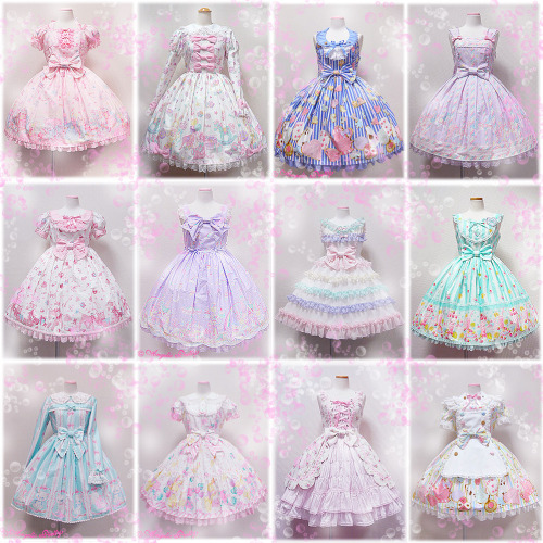 princess-peachie:  My favourite Angelic Pretty dresses/colourways! ^_^ <3 Always inspiration.Dreamy Dollhouse, Toy Parade, Wonder Cookie, Sugary Carnival, Milky Chan of the Fawn, Milky Planet, Soap Bubbles, Fruits Parlour, Whimsical Vanilla Chan, Toy Fantasy, Rose Bouquet.