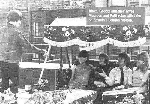 maureencoxstarkey:  John Lennon, Maureen, Ringo, George and Pattie on Brian's roof top patio. Pattie and George were not yet married as the photo caption says. (source)