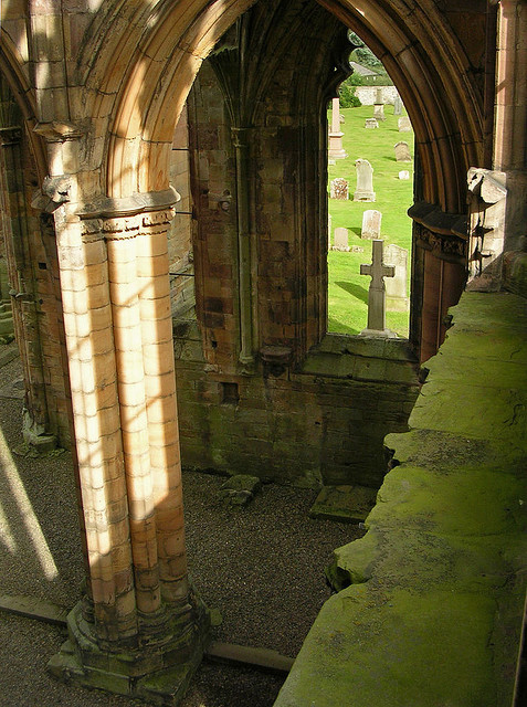 medievallove:  Melrose abbey ruins, Scotland. 12th c. by musicmuse_ca on Flickr.