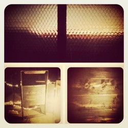 The top is what my 3rd floor windows look like at sunset & the bottom 2 are pics of a project I'm starting on…turning an old desk drawer+frame I found upstairs into a sidewalk chalkboard. #window #glass #sunset #old #drawer #wood #frame #project #DIY #antique #chalkboard (Taken with instagram)