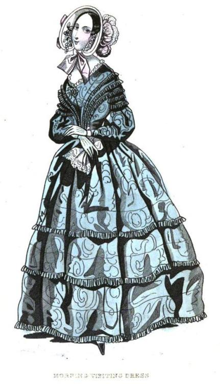Cabinet des Modes, August 1841.  I love all the little rows of ruffles!
