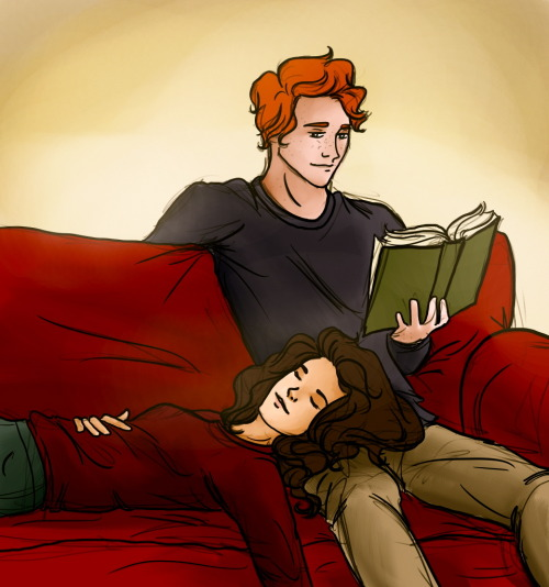 anxious-pineapples:  ron reads to hermione while she sleeps
