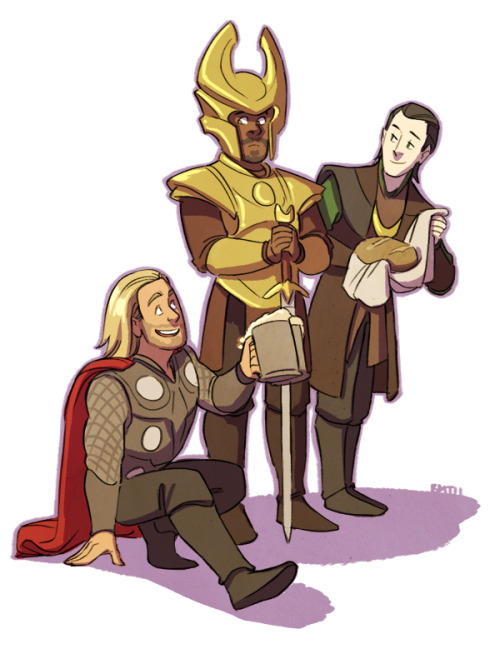 sairobee:  I call this one Snack Delivery!  or  Dude Heimdall Bro Let's Get Wasted and Watch the Shit Out of Some Stars and Planets and Shit.  ,