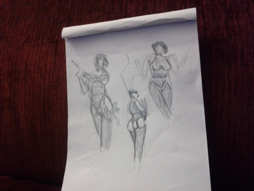 "My first time drawing ever in my life, today at Dr Sketchy's ""Anti-Art"" School. The theme of this afternoon was Aeon Flux!"