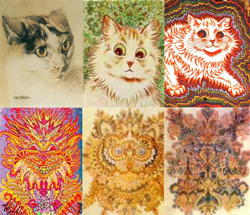 This is the artwork of Louis Wain, an English artist that lived from 1860-1939, suffering from schizophrenia. He is well-known for his paintings of cats, which changed in bizarre style throughout his life, which some psychologists believe correlates with the progression of his schizophrenia. It is an oft-cited example of the development of psychosis and its hallucinatory symptom. Wiki:  Some speculate that the onset of Wain's schizophrenia was precipitated by toxoplasmosis, a parasitic infection that can be contracted from cats.