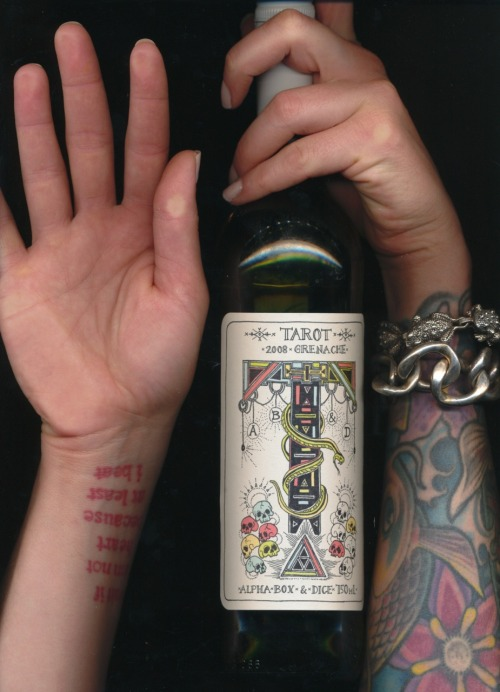 ALPHA BOX & DICE - TAROT // grenache 2008 *this has been a staple around the house. not only does the label rule, the wine is totally satisfying as well. also, it's about $10 a bottle. wins all-around.