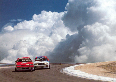 the80sareforever:  bestwheelbase:  Race from the clouds. E30 M3 (2565mm) dives under R31 GTS-R series special (2615mm).  One of the coolest photos I've seen.