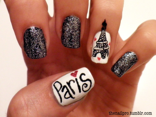 thenailpro:  my obsession with paris and the eiffel tower <3 colors used: color club-french tip color club-where's the soiree color club-the cadillac red finger paints-oh my stars