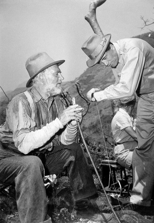 Walter Huston and John Huston on the set of 'The Treasure of the Sierra Madre' (John Huston, 1948) from cinemovies
