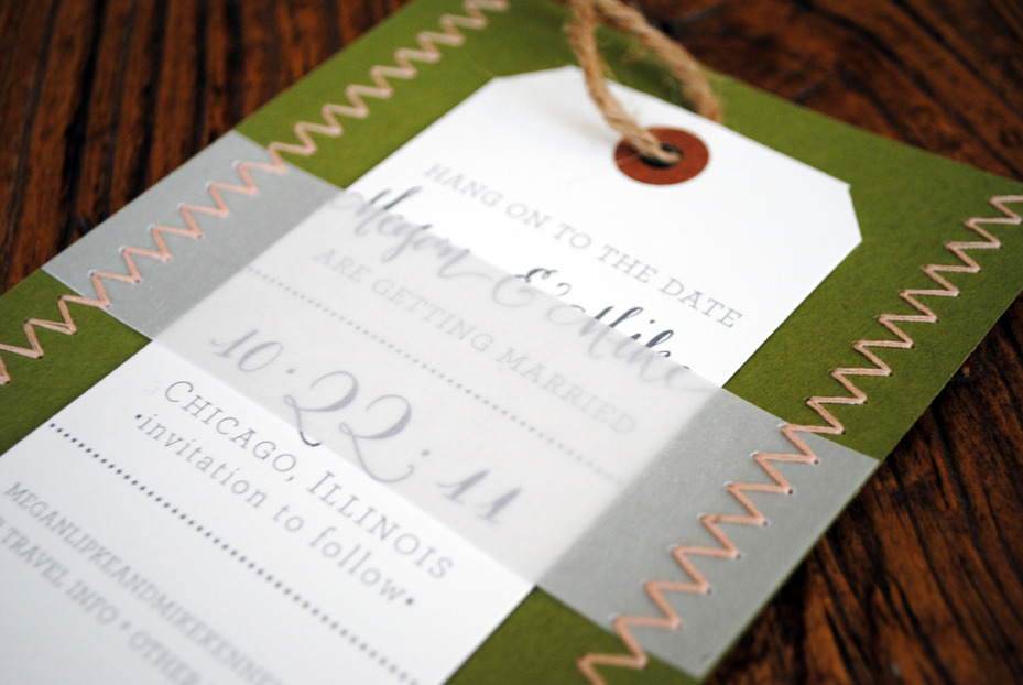 stitched letterpress save the dates