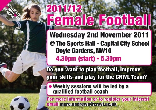 To all the ladies, have a go at football at CNWL!