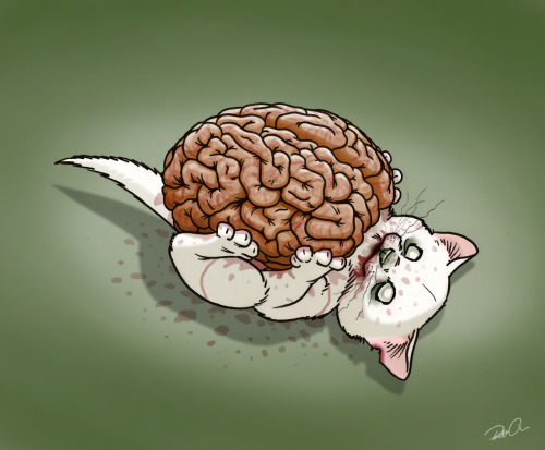 Zombie Kitteh by Robert Alicea Dawwwwwwww :3 (via Rob's tumblr: doodleofboredom)