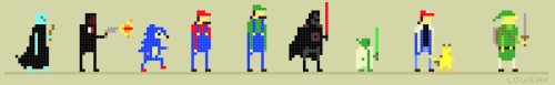 Today, some Pixel arts ! (Voldemort, Pulp fiction, Sonic, Mario, Luigi, Darth Vader, Yoda, Sacha and Pikachu, and Link)