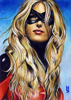 bobafettuccine:  Ms. Marvel (Karla) Sketch Card by Veronica O'Connell