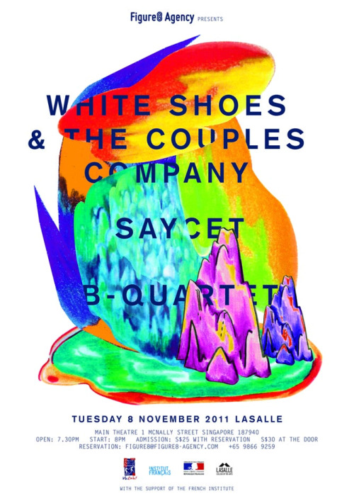 White Shoes & The Couples Company (ID)with sayCet (FR) and B-Quartet (SG) Celebrated indie pop band White Shoes & The Couples Company from Jakarta will be playing the Lasalle Main Theatre on 8th November. Joining them are ambient/electronic pop trio sayCet and local art rock giants B-Quartet, who will be going on indefinite hiatus thereafter. Event/ticketing details here »