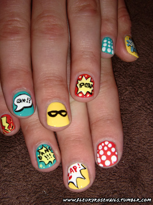 fashiontipsfromcomicstrips:  Manicure Monday: Comic nails, by Fleury Rose These are just lovely!  MUST attempt this.