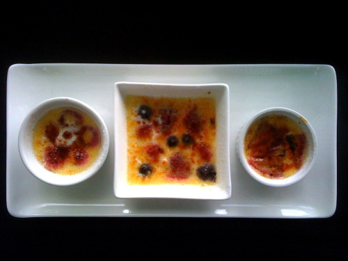 from left to right: raspberry creme brulee, raspberry+blueberry+strawberry creme brulee, strawberry creme brulee credits! this was my food tech coursework Recipe: makes 3 regular sized ramekins 2 egg yolks 3/4c cream 30g sugar 1/4tsp vanilla Choice of berry Heat cream. Whisk sugar and egg yolks together, temper cream into yolks, pour into steady stream. Whisk. Pour through sieve. Fold in berries. Pour in ramekins. Bake 25min in water bath