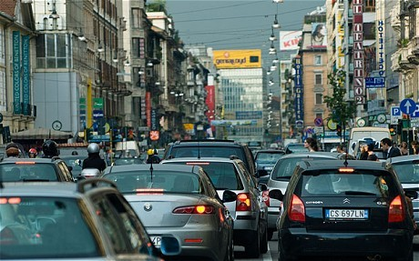 Italy: Milan bans cars for 10 hours to reduce smog  Milan on Sunday banned all traffic from its streets for 10 hours in an attempt to reduce smog. The measure, which was first imposed on a trial basis four years ago, is triggered whenever pollution exceeds the statutory limit for 12 consecutive days. The last time the ban was enforced was in February. Public transport will be increased during the day. Milan, in the north of Italy, is one of the most polluted cities in Europe. In 2008 it was crowned the Continent's most polluted city. An estimated 120,000 vehicles were expected to be affected by the move, which came into effect between 8am and 6pm local time. (via The Telegraph)