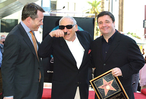 fyeahnathanlane:  Nathan Lane, Matthew Broderick, and Mel Brooks at Lane and Broderick's Double Star Ceremony.
