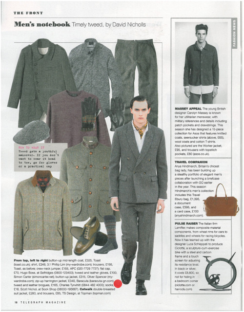 Baracuta Harris Tweed Harrington Jacket seen in Telegraph magazine