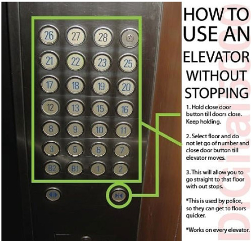 This is ingenious! I will have to test this method. Here you go Tumblr members.. A helpful hint to make yourself more important at a courthouse, hospital, school, or mall..  Screw those assholes that we have to wait for them to get to their floor before us! :D