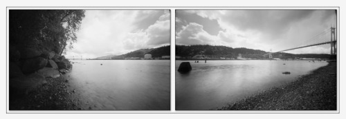 Pinhole Diptych 180 degree pinhole panorama of the Willamette River. This was my first attempt at this with the original version of my 6x9 pinhole. I've since made a stage for my tripod that allows me to rotate the camera without adjusting the tripod.