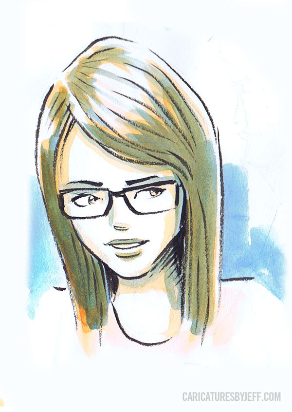 Quick sketch of a girl at a cafe. Ink & watercolour