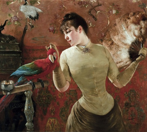 auctionguide:  Eugene Joors ( 1850-1910)  Belgium  Woman with Parrot  De Vuyst, Old Masters and Contemporary, Belgium, Oct 22nd