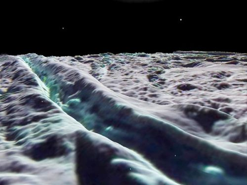 "Saturn's moon Enceladus appears to be covered in a fine layer of snow. SKI TRIP! Saturn's moon Enceladus appears to be cloaked in drifts of powdery snow around 330 feet (100 meters) thick, scientists announced this week.  The researchers think superfine snowflakes are blasted out of geyser-like jets, which emanate from long fissures called tiger stripes on the moon's southern hemisphere. Some of the snow from these plumes falls back to the moon's surface, coating older fractures and craters in a slow process of accumulation.  ""The particles are only a fraction of a millimeter in size … even finer than talcum powder,"" study leader Paul Schenk, a planetary scientist at the Lunar and Planetary Institute in Houston, Texas, said in a statement. ""This would make for the finest powder a skier could hope for."" Via"