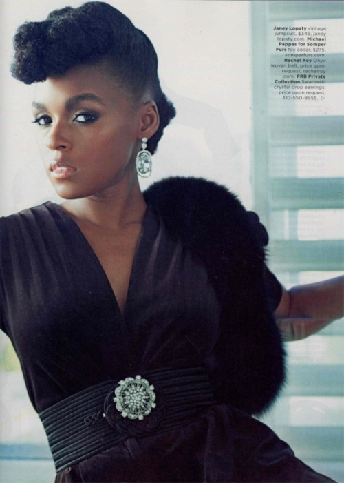 Janelle Monáe in Essence Magazine (November 2011) by Kwaku Alston  'Drawing her inspiration from Judy Garland (music), Fritz Lang (sci-fi), Marlene Dietrich (style) and Big Boi (swag), Monáe has perfected a look, sound and vibe that are uniquely her own- and she rocks them.  This spread is fantastic, the styling is spot on and the ArchOrchestra look amazing too.